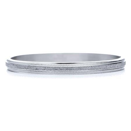 Engravable Glittered Finish Oval Bangle | Eve's Addiction®