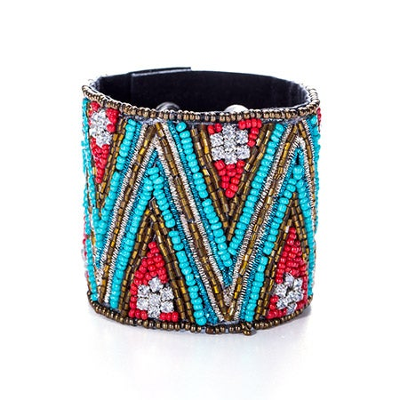 Chevron Design Beaded Cuff Bracelet | Eve's Addiction®