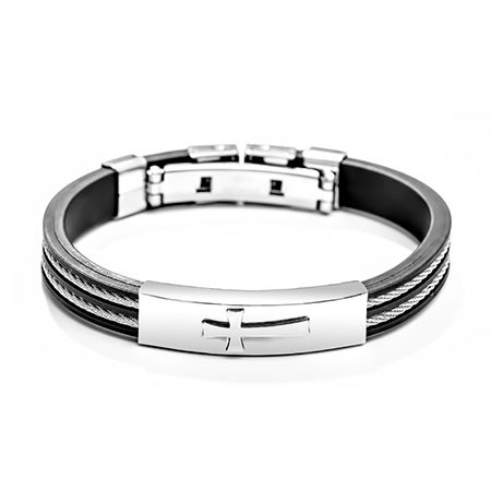 Engravable Men's Cross Cable Bracelet | Eve's Addiction