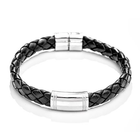 Women's Engravable ID Bracelet In Black Braided Leather | Eve's Addiction®