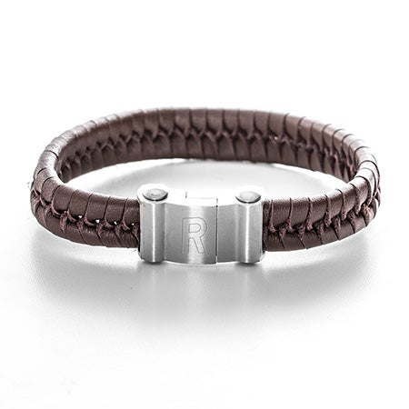 Men's Engravable Brown Leather Bracelet with Magnetic Clasp | Eve's Addiction®