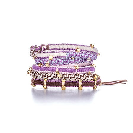 Chen Rai Purple and Pink Gold Beaded Wrap Bracelet | Eve's Addiction®