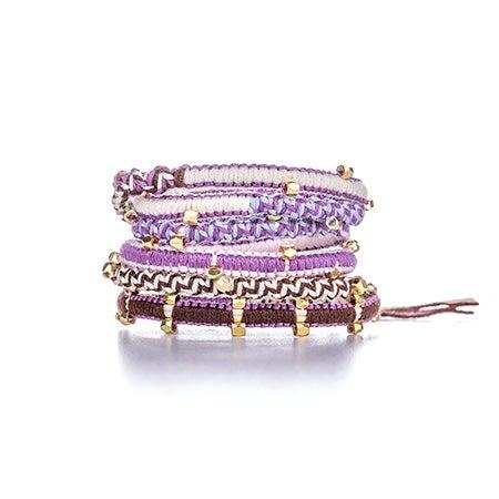 Chen Rai Purple and Pink Gold Beaded Wrap Bracelet | Eve's Addiction®