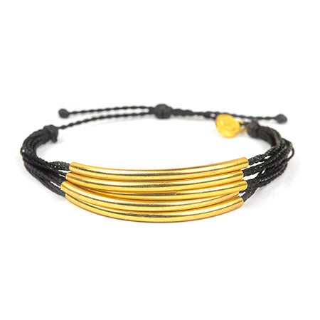 Pura Vida Gold Cuff in Black | Eve's Addiction®