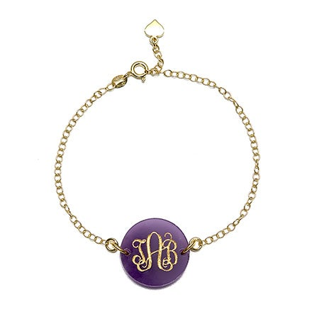 Acrylic Script Monogram Round Tag Bracelet | Eve's Addiction®