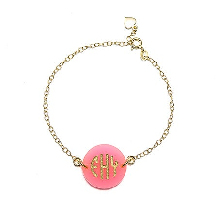 Acrylic Block Monogram Round Tag Bracelet | Eve's Addiction®