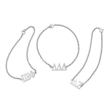 Sorority Greek Letter Bracelet in Silver | Eve's Addiction®