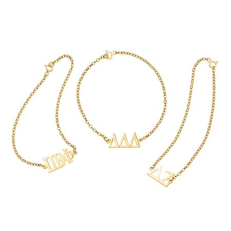 Sorority Greek Letter Bracelet in Gold | Eve's Addiction®