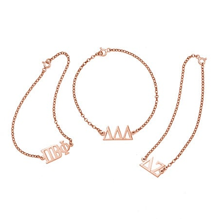Sorority Greek Letter Bracelet in Rose Gold | Eve's Addiction®