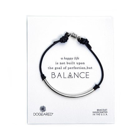 Dogeared Balance Black Leather Bracelet Silver Dipped | Eve's Addiction®