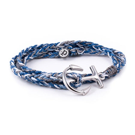 Silver Anchor Blue Braided Wrap Bracelet by Pura Vida | Eve's Addiction®