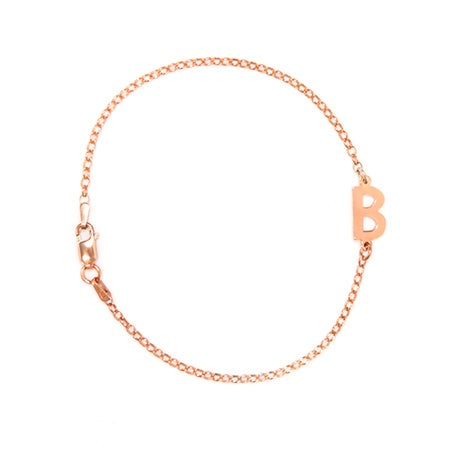 Handcrafted Rose Gold Plated Sideways Initial Bracelet