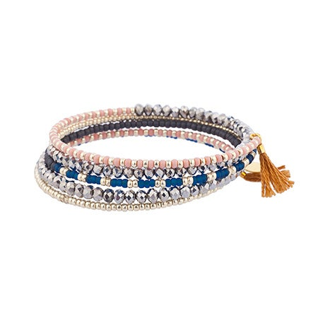 Wrap Bead Bracelet with Tan Tassels by Shashi | Eve's Addiction®