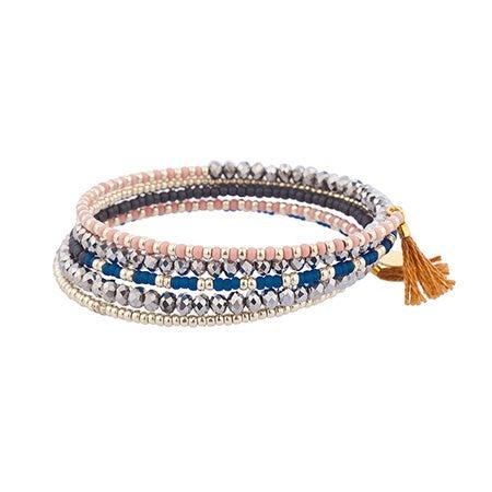Wrap Bead Bracelet with Tan Tassels by Shashi   Eve's Addiction®
