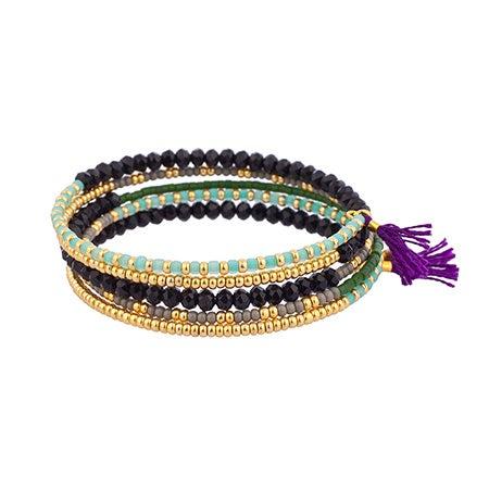 Shashi Jane Five Row Wrap Bracelet with Purple Tassels | Eve's Addiction®