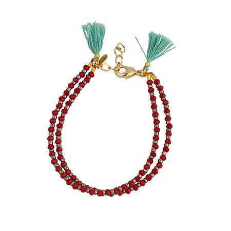 Ruby Bead Clasp Bracelet with Mint Green Tassels | Eve's Addiction®