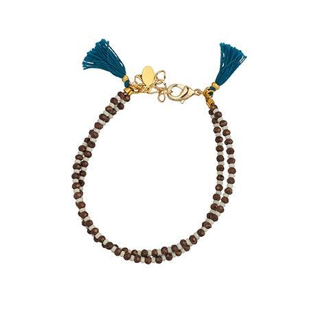 Shashi Barbara Bronze Clasp Bracelet with Teal Fabric Tassels | Eve's Addiction®