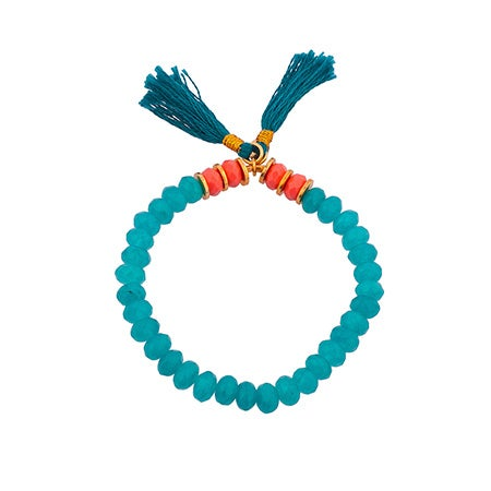 Joe Stretch Turquoise Bracelet with Coral Accents by Shashi | Eve's Addiction®