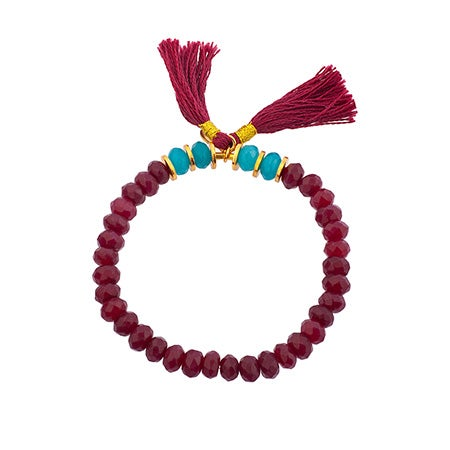 Shashi Joe Faceted Bead Stretch Bracelet In Deep Ruby | Eve's Addiction®
