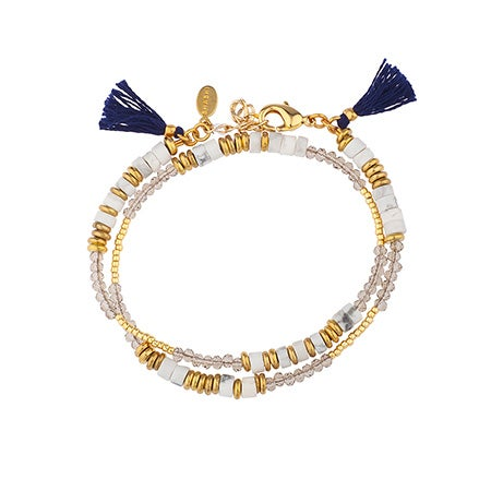 Shashi Farrah Bohemian Chic Wrap Bracelet/Choker in White | Eve's Addiction®