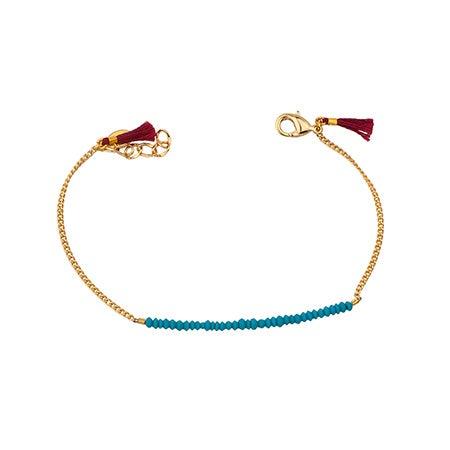 Shashi Natasha Gold Bracelet with Turquoise Beads | Eve's Addiction®
