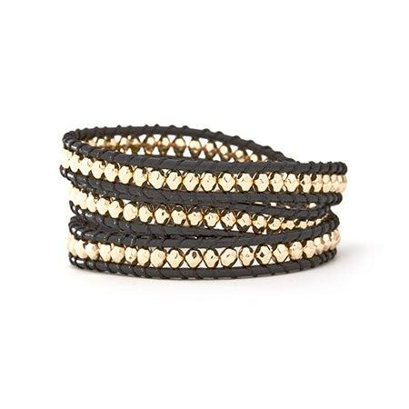 House of Harlow 1960 Karma Wrap Bracelet in Black & Gold