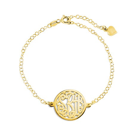 Rolo Chain Center Circle Monogram Gold Bracelet
