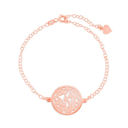 Rolo Chain Circle Monogram Rose Gold Bracelet