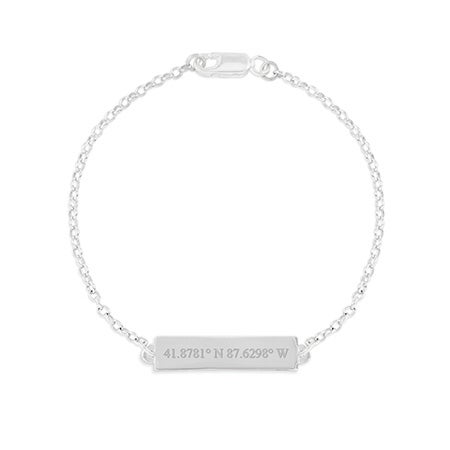 Custom Coordinate Name Bar Silver Bracelet