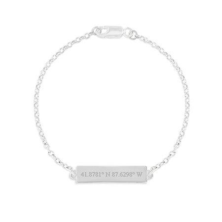 Custom Coordinate Name Bar Silver Bracelet