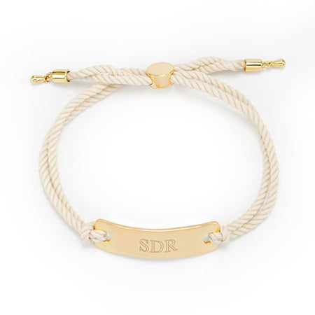 Gold Engravable Bar Rope Bolo Bracelet