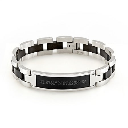 Mens Black Coordinates Steel Bracelet | Eve's Addiction