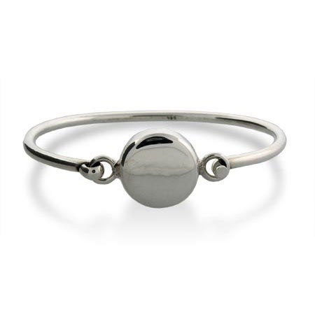 Sterling Silver Round Tag Bangle Bracelet | Eve's Addiction®