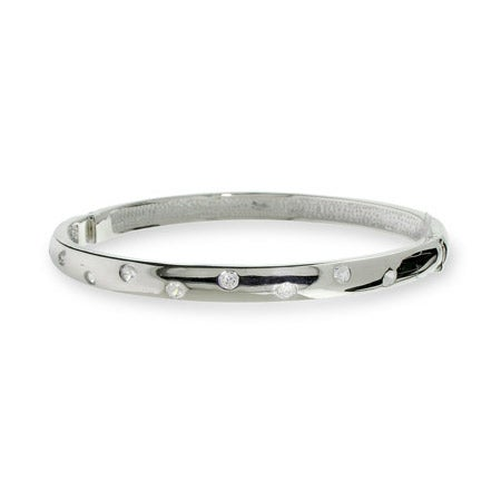 Twinkling CZ Sterling Silver Bangle Bracelet | Eve's Addiction®