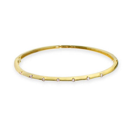 Designer Inspired Classic Skinny CZ Gold Vermeil Bangle - Clearance Final Sale
