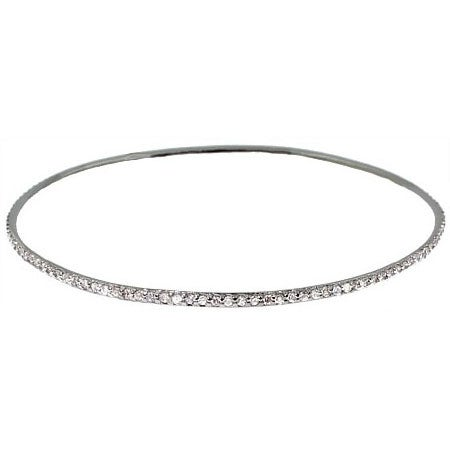 Sterling Silver Stackable CZ Bangle Bracelet | Eve's Addiction®