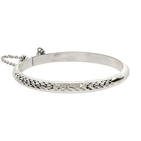 Engravable Diamond Cut Sterling Silver Baby Bangle | Eve's Addiction®