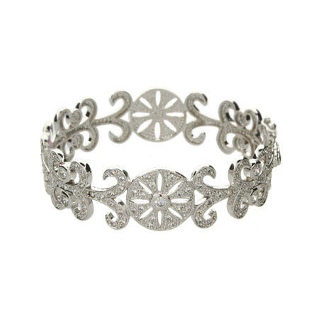 Elegant Deco Style Vintage CZ Bangle Bracelet | Eve's Addiction®