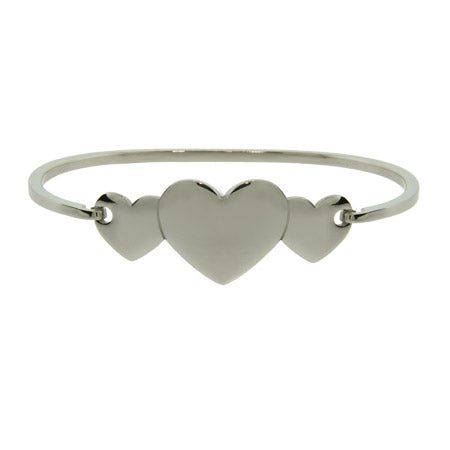 Engravable Three Hearts Bangle Bracelet | Eve's Addiction®