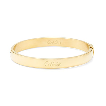 Engravable Gold Plated Stainless Steel Oval Bangle | Eve's Addiction®