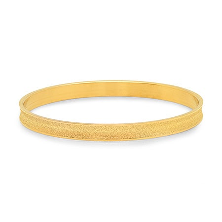 Engravable Frosted Golden Bangle Bracelet | Eve's Addiction®