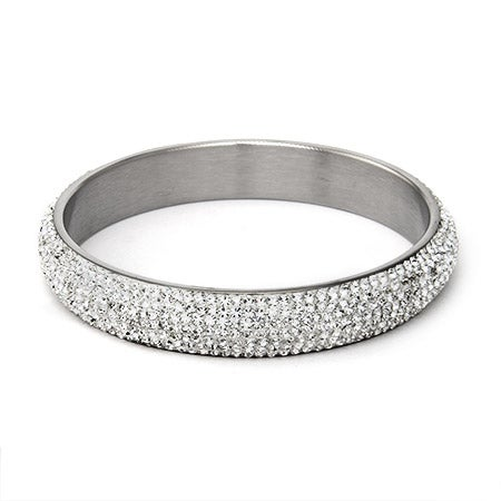 White Swarovski Crystal Pave Bangle Bracelet | Eve's Addiction®