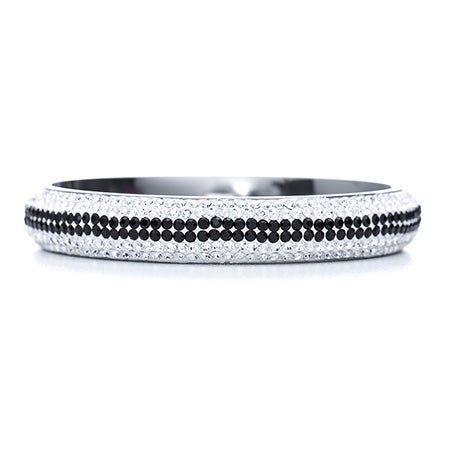 Engravable White and Black Crystal Bangle Bracelet | Eve's Addiction®