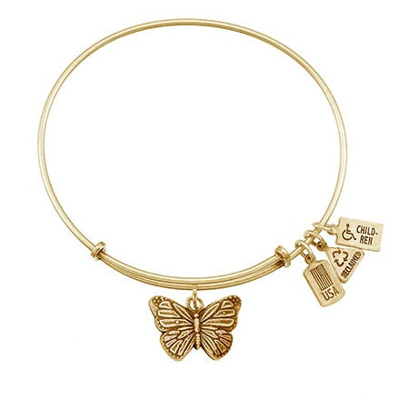 Wind & Fire Butterfly Charm Gold Bangle Bracelet | Eve's Addiction®