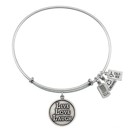 Wind & Fire Live, Love, Laugh Charm Bangle Bracelet with Silver Finish | Eve's Addiction®