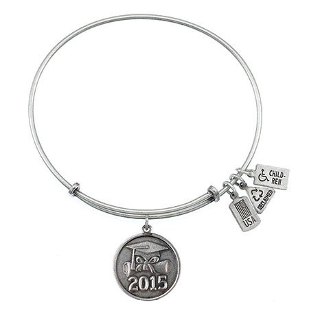 Wind & Fire 2015 Graduation Charm Bangle Bracelet | Eve's Addiction®