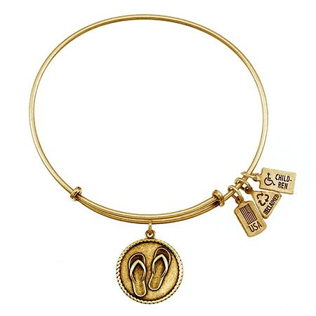 Wind & Fire Flip Flops Charm Gold Bracelet | Eve's Addiction®