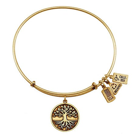 Tree of Life Charm Gold Bangle Bracelet by Wind & Fire | Eve's Addiction®