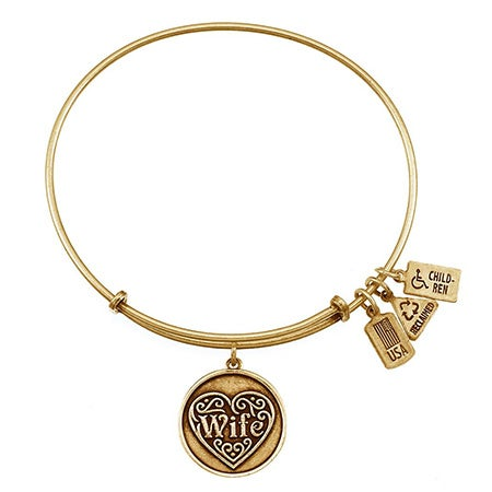 Wife Charm Gold Bangle Bracelet by Wind & Fire | Eve's Addiction®
