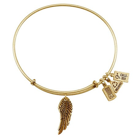 Angel Wing Charm Gold Finish Bangle Bracelet by Wind & Fire | Eve's Addiction®